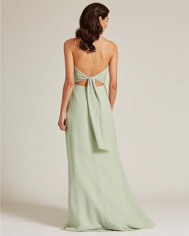 Dusty Blue Strapless Cut Out Back Dress