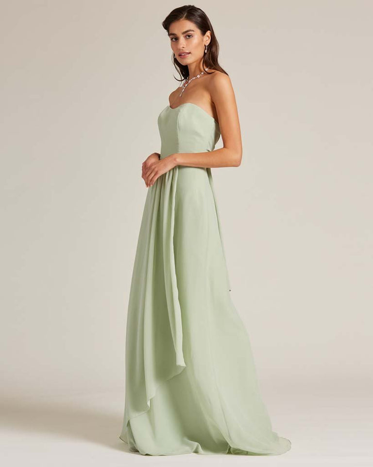 Paradise Sage Strapless Cut Out Back Dress