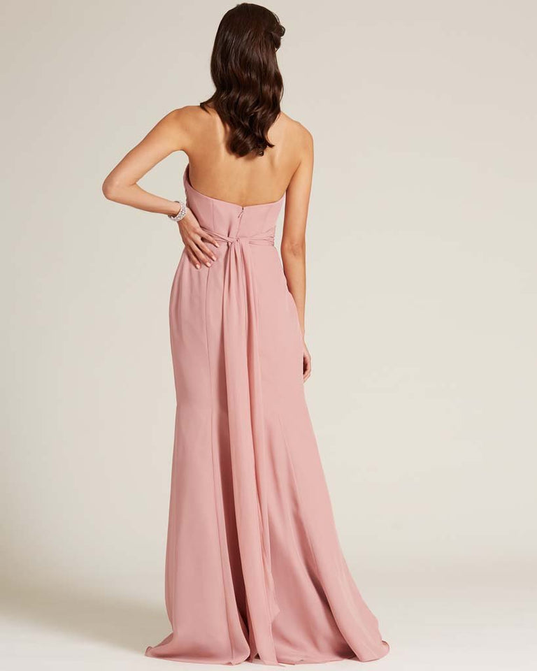 Fuchsia Strapless Bow Detail Evening Dress
