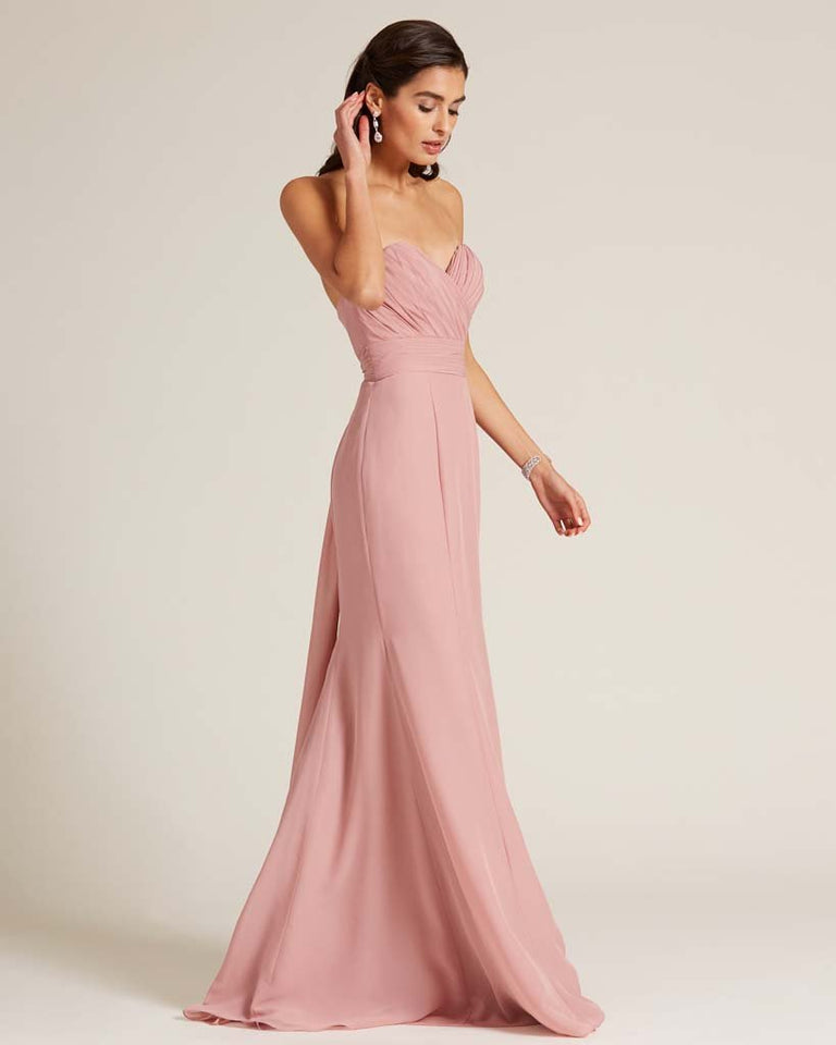 Pool Strapless Bow Detail Evening Dress
