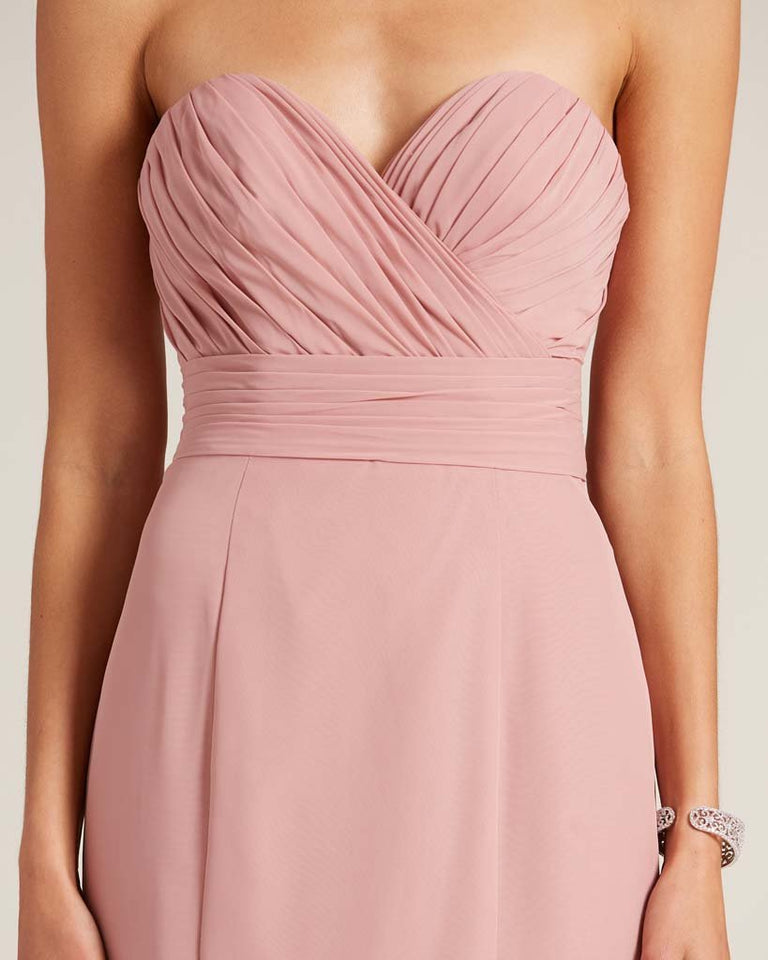 Dusty Blue Strapless Bow Detail Evening Dress