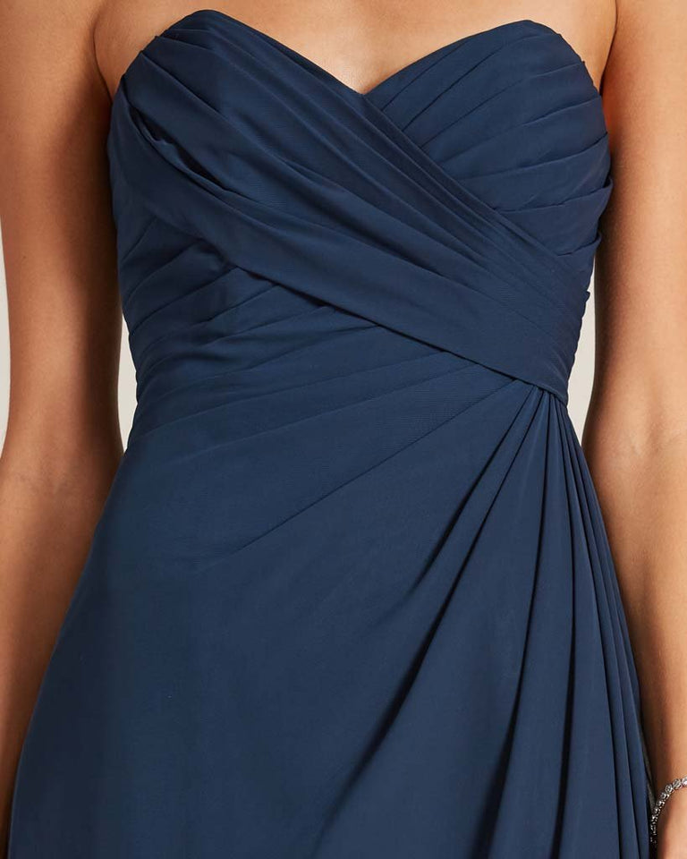 Dusty Blue Strapless Sweetheart Neckline Gown