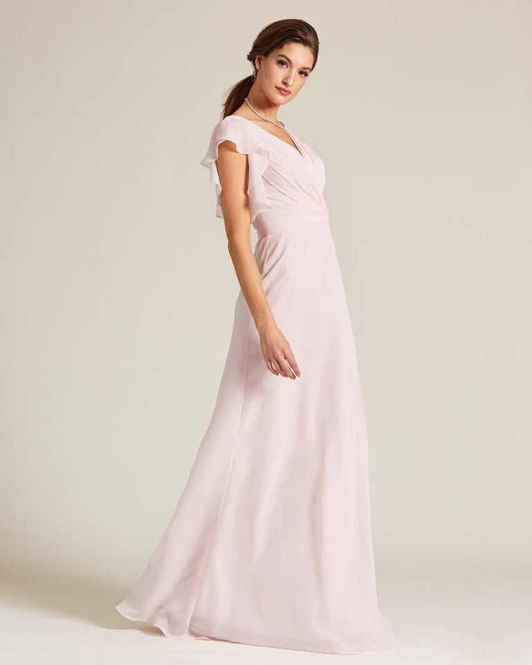 Blushing Pink V Neck Ruffled Sleeves Dress