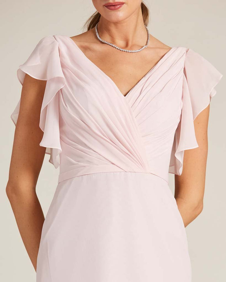Vintage Mauve V Neck Ruffled Sleeves Dress