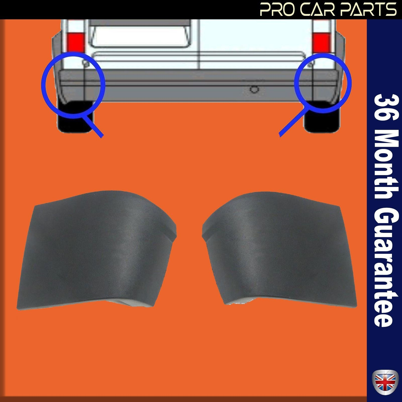 Rear BUMPER CORNER END CAPS w// CLIPS Fit For Ford TRANSIT CONNECT 02-12 L/&R SIDE