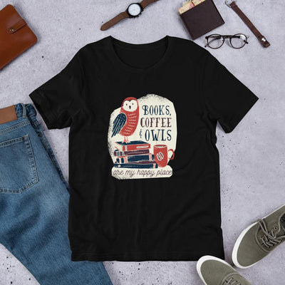 Books, Coffee & Owls Half Sleeve T-Shirt
