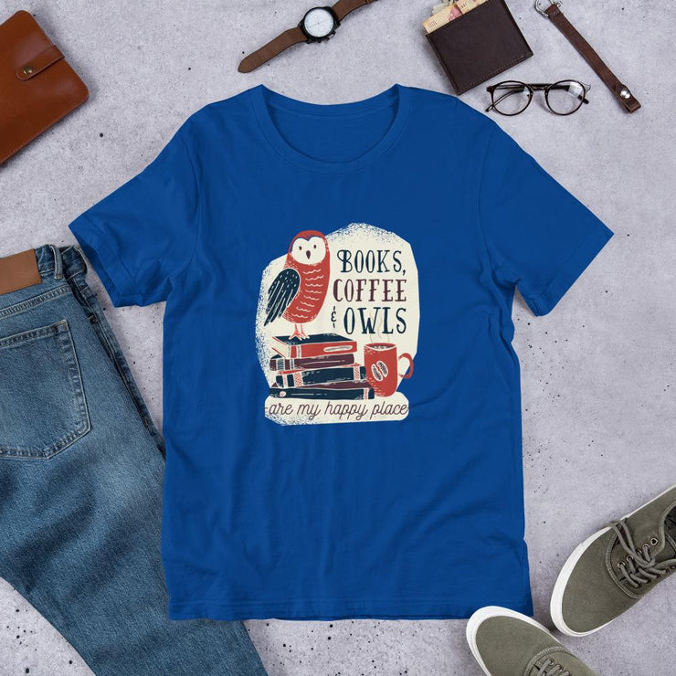 Books, Coffee & Owls Unisex Half Sleeve T-Shirt #Plus-sizes