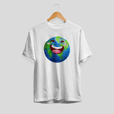 Earth Cartoon Half-Sleeve T-Shirt