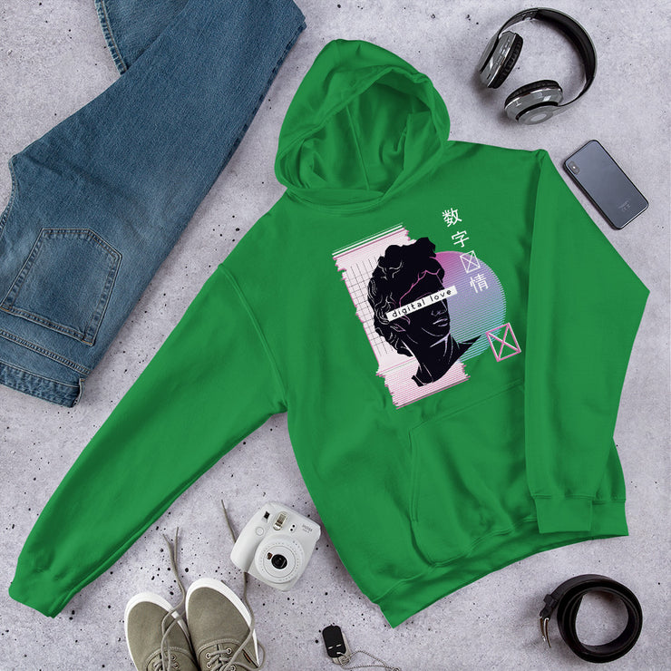 Vaporwave Digital Love Unisex Hooded Sweatshirt