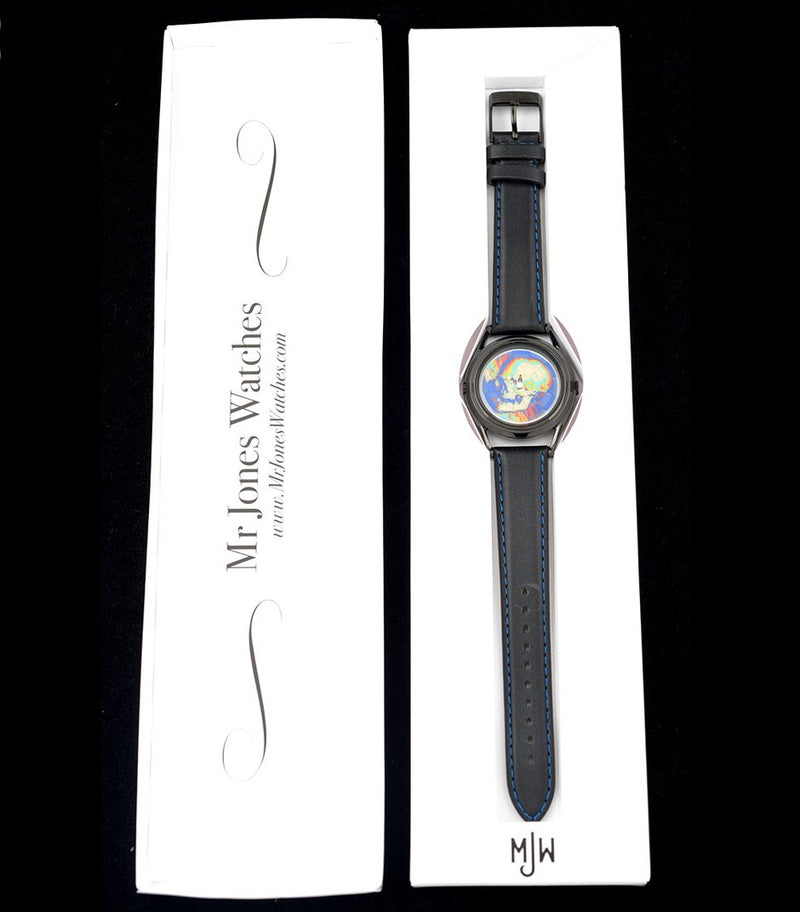 Ambassador colourful skull watch by Mr Jones Watches - boxed view