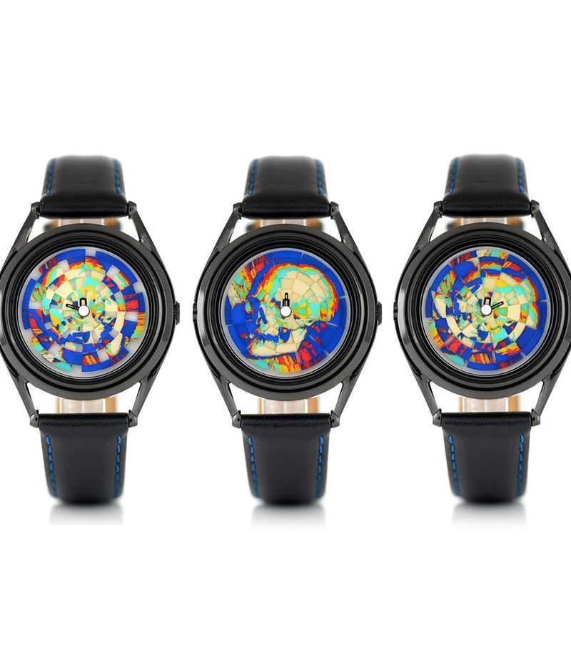 Ambassador colourful skull watch by Mr Jones Watches - flat view at three different times