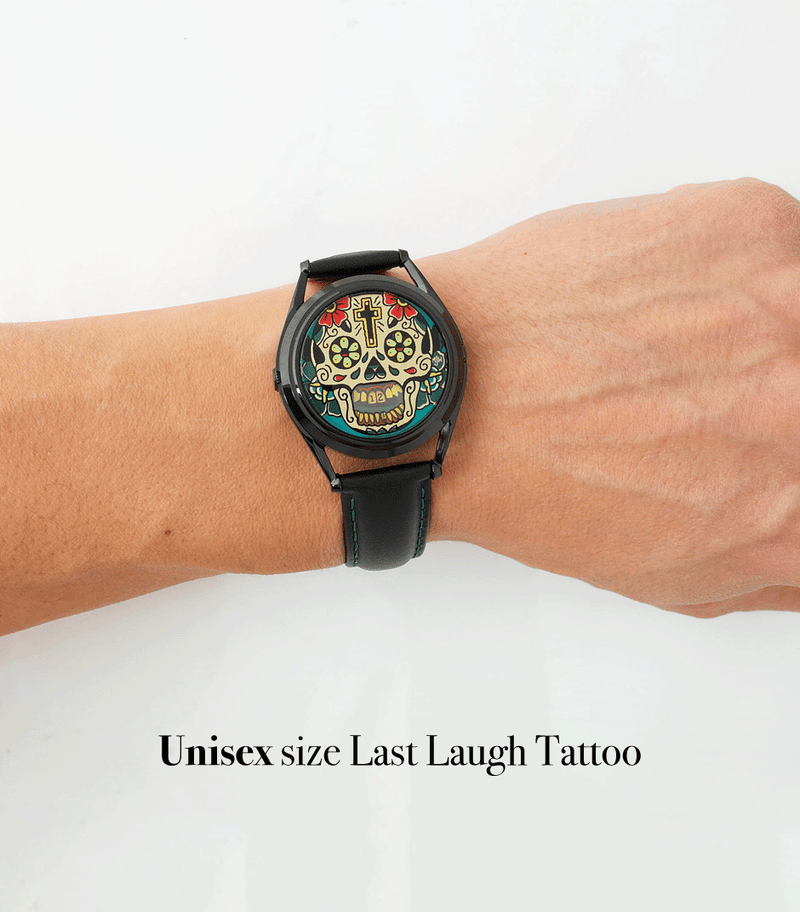Example of the unisex size Last Laugh Tattoo watch on a male wrist