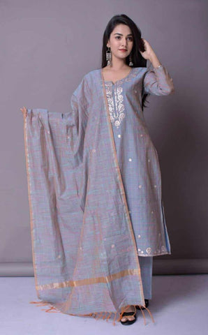 ZERE-Blue Chanderi Embroidered Full Suit Set
