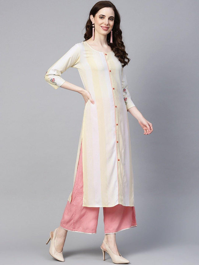 YF -  Off-White & Yellow Striped Straight Kurta Only - ZERESOUQ
