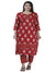 Floral-Printed-Kurta-Set-In-Red