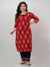 Printed-Rayon-Kurta-With-Pant-In-Red