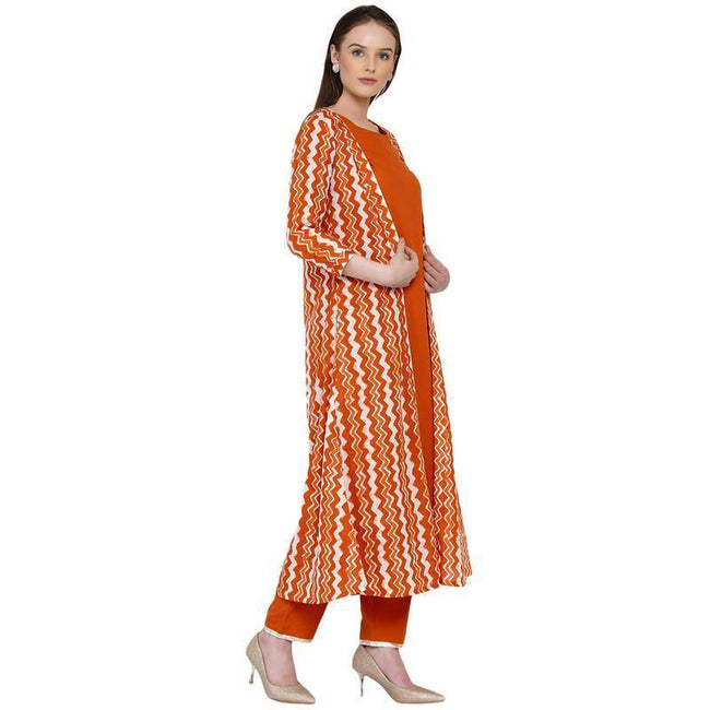 Cotton-Kurta-Set-With-Chevron-Cape-In-Rust