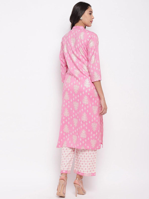 Pink Printed Kurta and Pant Set - ZERESOUQ