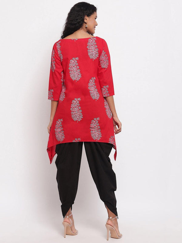 Red Printed Cotton Kurta with Black