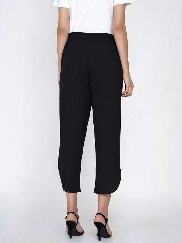 FN - Black Cotton Flex Petal Pants - ZERESOUQ