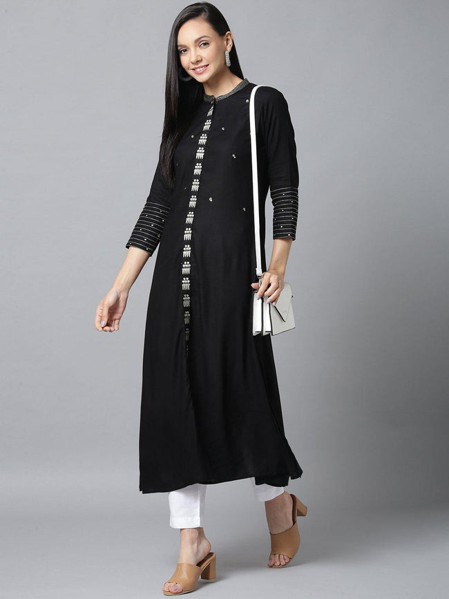 YF -  Black and Dullgold Solid Kurta Only - ZERESOUQ