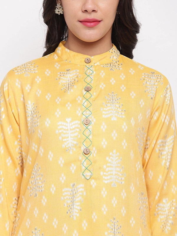 Lime Yellow Printed Kurta and Pant Set