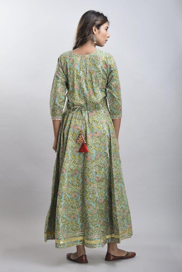 Zere - Forest Green Floral Long Anarkali