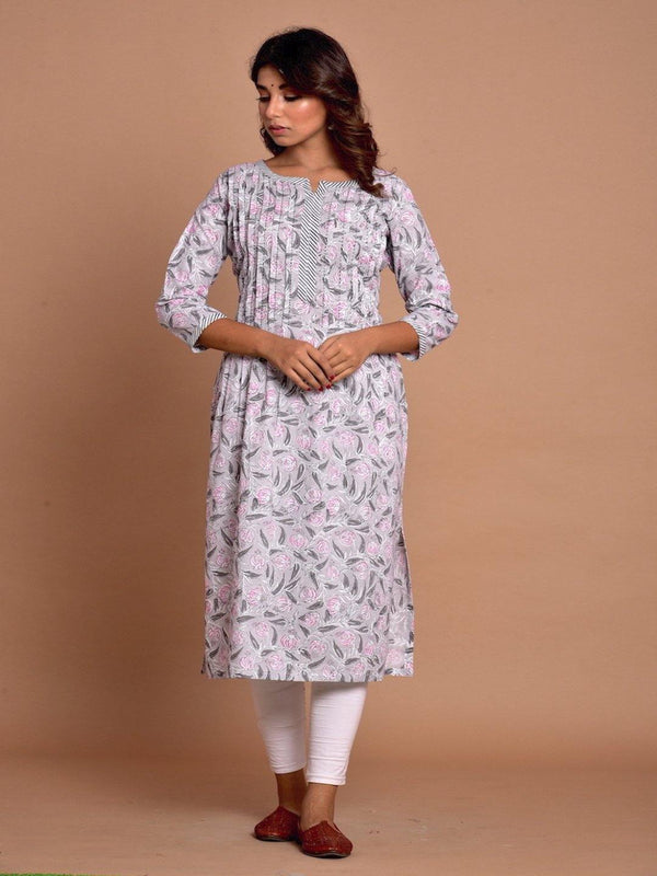 ZERE-Grey & Pink floral cotton kurta with pleated yoke PLUS