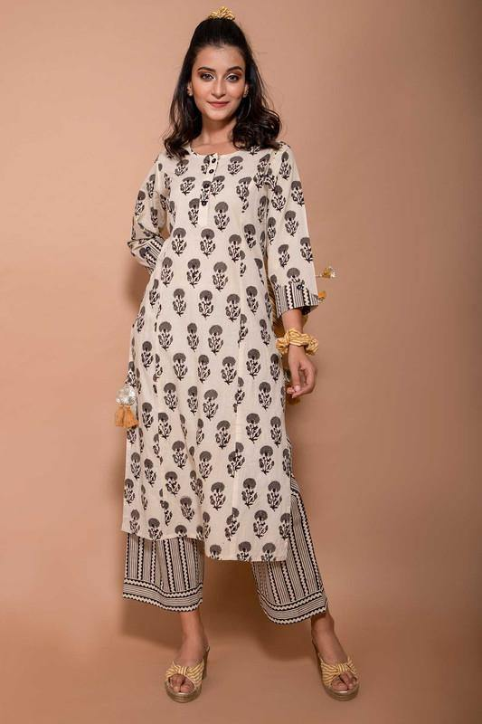 Off-white-Buti-Motif-Monotoned-Kurta-set