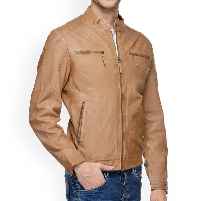 Leather Biker Jacket Tan - ZERESOUQ
