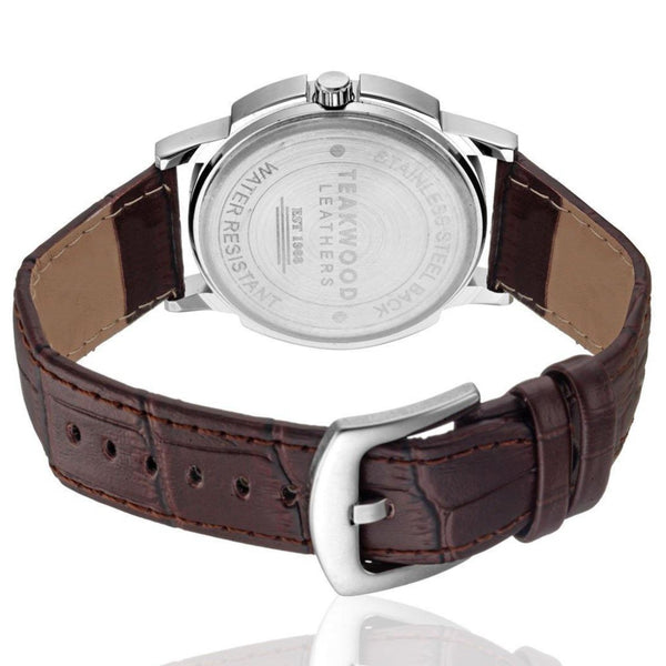 Men's Leather Analog Wrist Watch