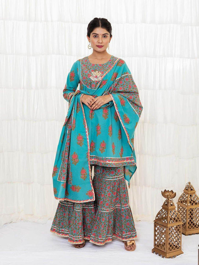 JOVI - Light Sea Green Sharara Set - ZERESOUQ