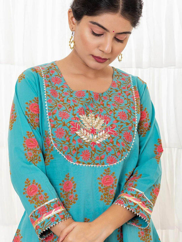 JOVI - Light Sea Green Sharara Set