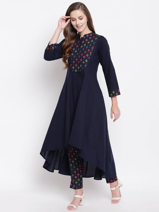 Cotton Kurta with Printed Yoke - ZERESOUQ