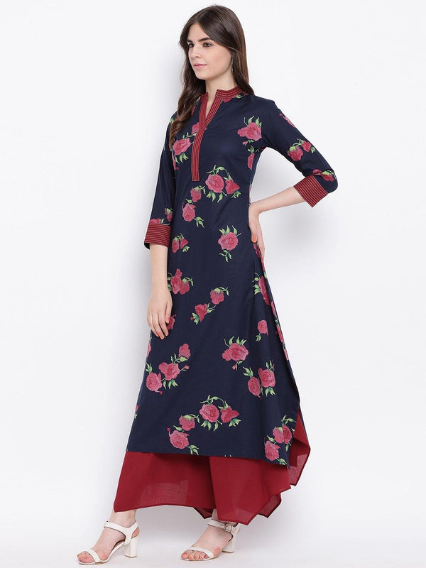 Indigo Rose Print Cotton Assymetrical Hem Kurta