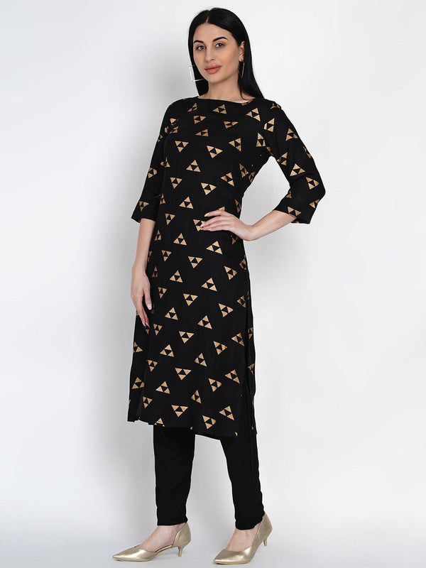 Black Rayon Straight Kurta With Gold Foil Print