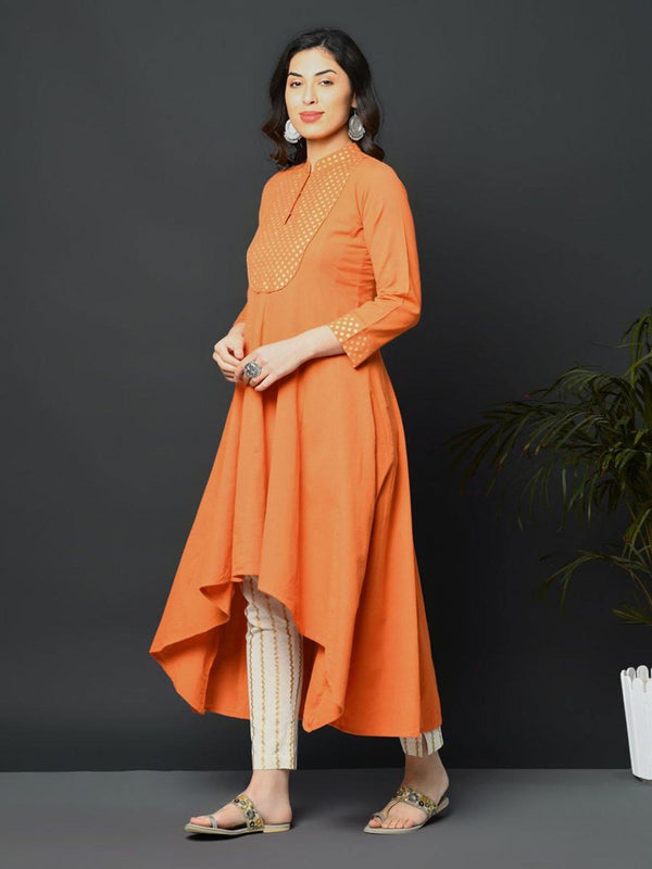 Orange flex assymetric hem kurta with printed yoke - ZERESOUQ