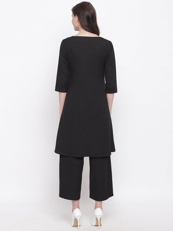 Cotton flex black A line kurta with straight pants - ZERESOUQ