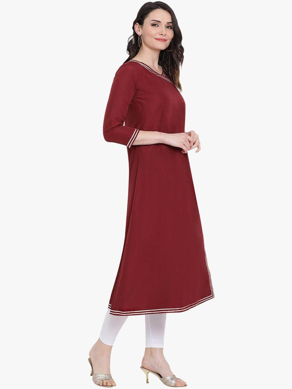 Maroon Angarkha Kurta With Contrast Facing And Gota Insert - ZERESOUQ
