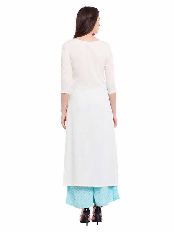 Solid Cream High Slit Kurta - ZERESOUQ