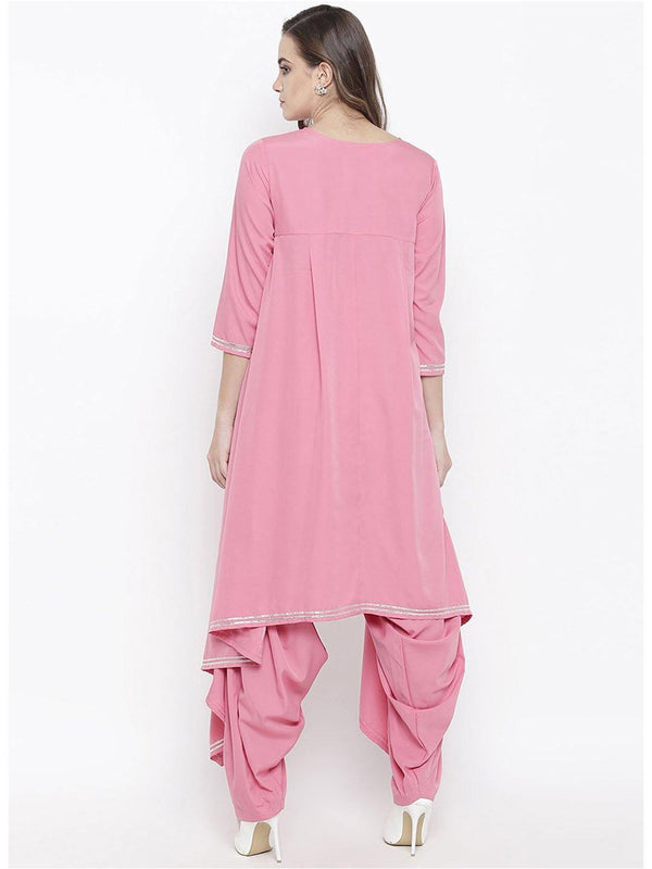Pink asymmetrical kurta and salwar set with gota work - ZERESOUQ