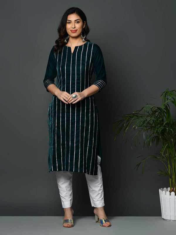 Green coloured velvet kurta with all over gota work - ZERESOUQ