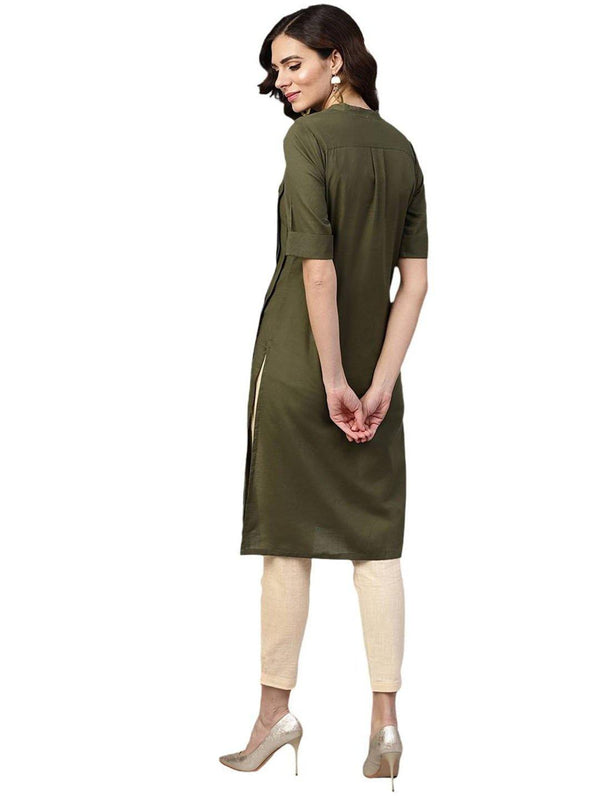 Olive Solid Straight Cotton Kurta