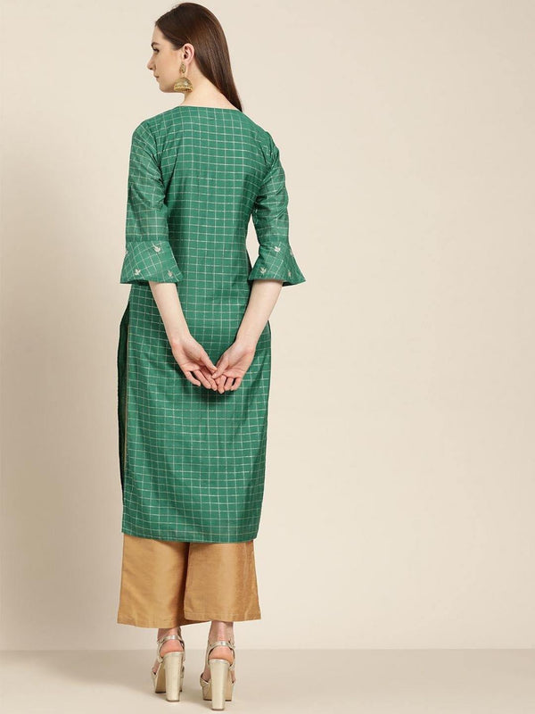 Green embroidered chanderi straight kurta - ZERESOUQ