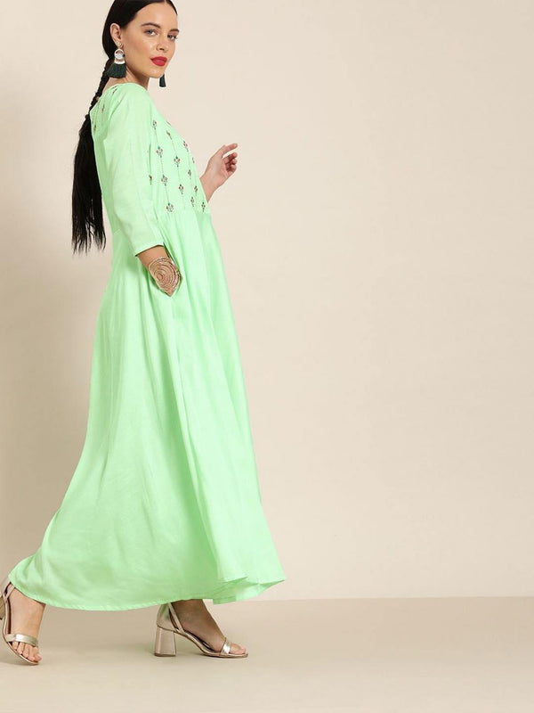 Aqua Crepe embroidered flared dress - ZERESOUQ