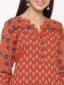 Maroon Printed Straight Cotton Kurta - ZERESOUQ
