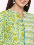 Green Floral Straight Cotton Kurta - ZERESOUQ