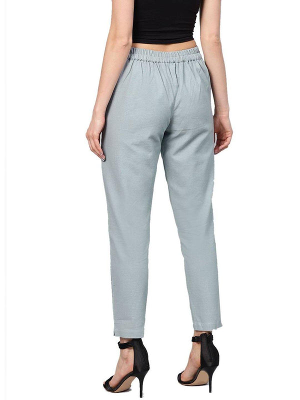 Light Grey Solid Straight Cotton Slub Trouser