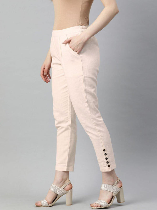 Off White Solid Cotton Slub Pants