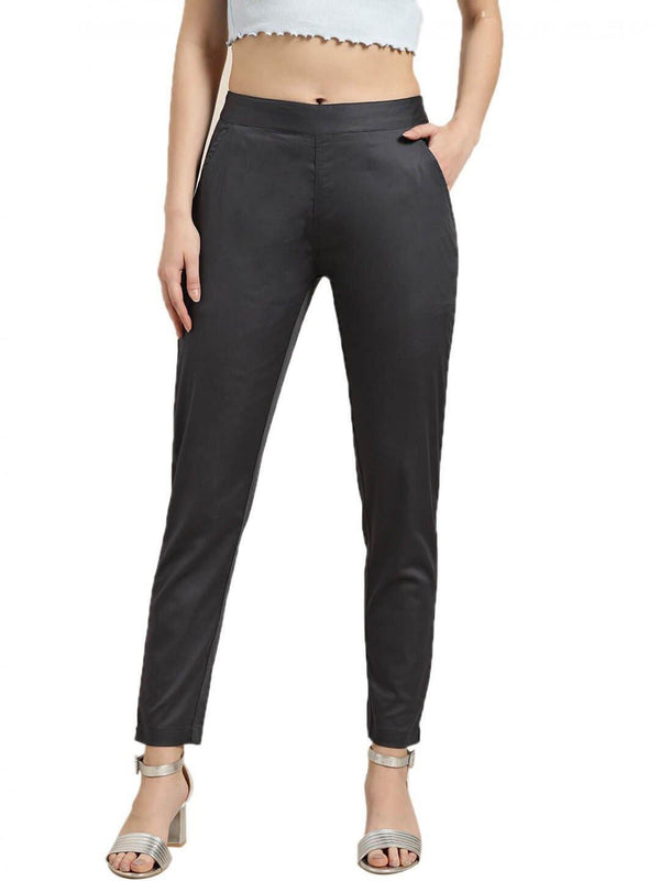 Charcoal Grey Solid Cotton Lycra Pants